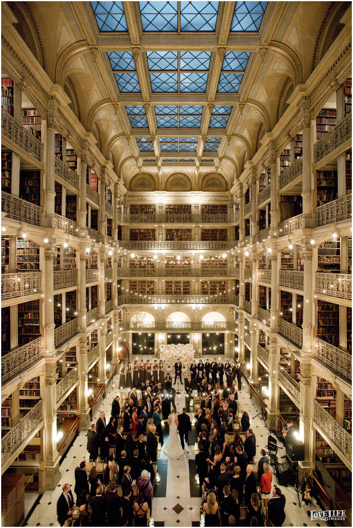 Peabody Library Baltimore Glam Wedding ceremony birds eye view.jpg