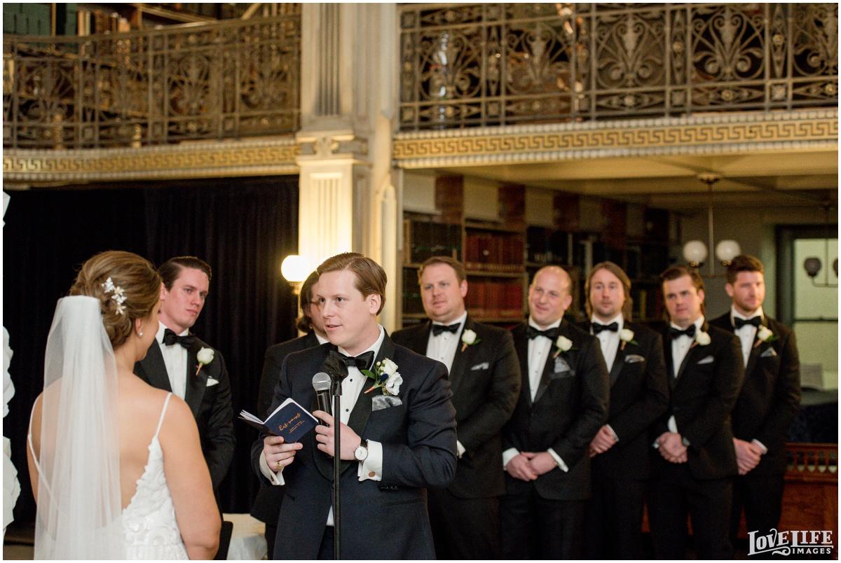 Peabody Library Baltimore Glam Wedding ceremony vow exchange.jpg