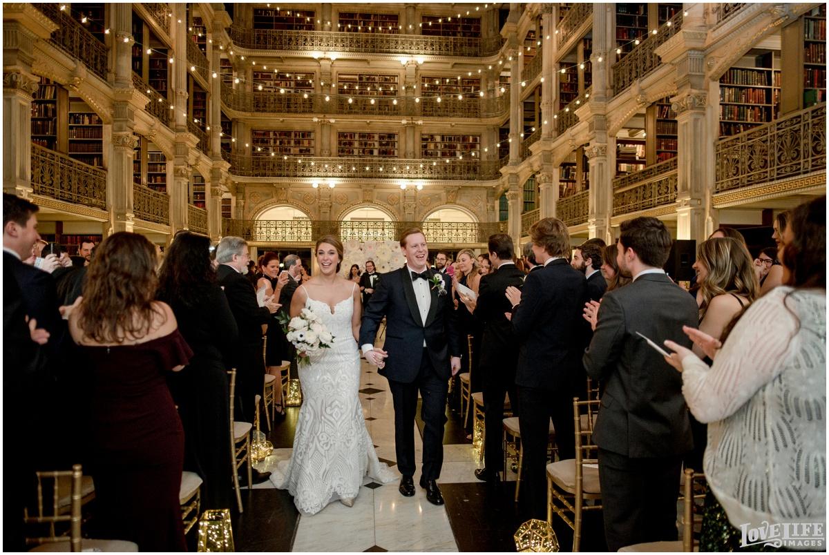 Peabody Library Baltimore Glam Wedding newlywed recessional.jpg