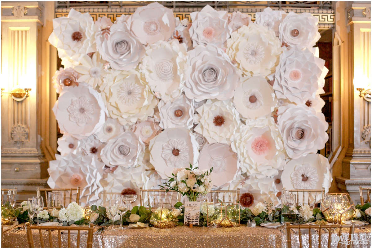 Peabody Library Baltimore Glam Wedding paper flower backdrop.jpg