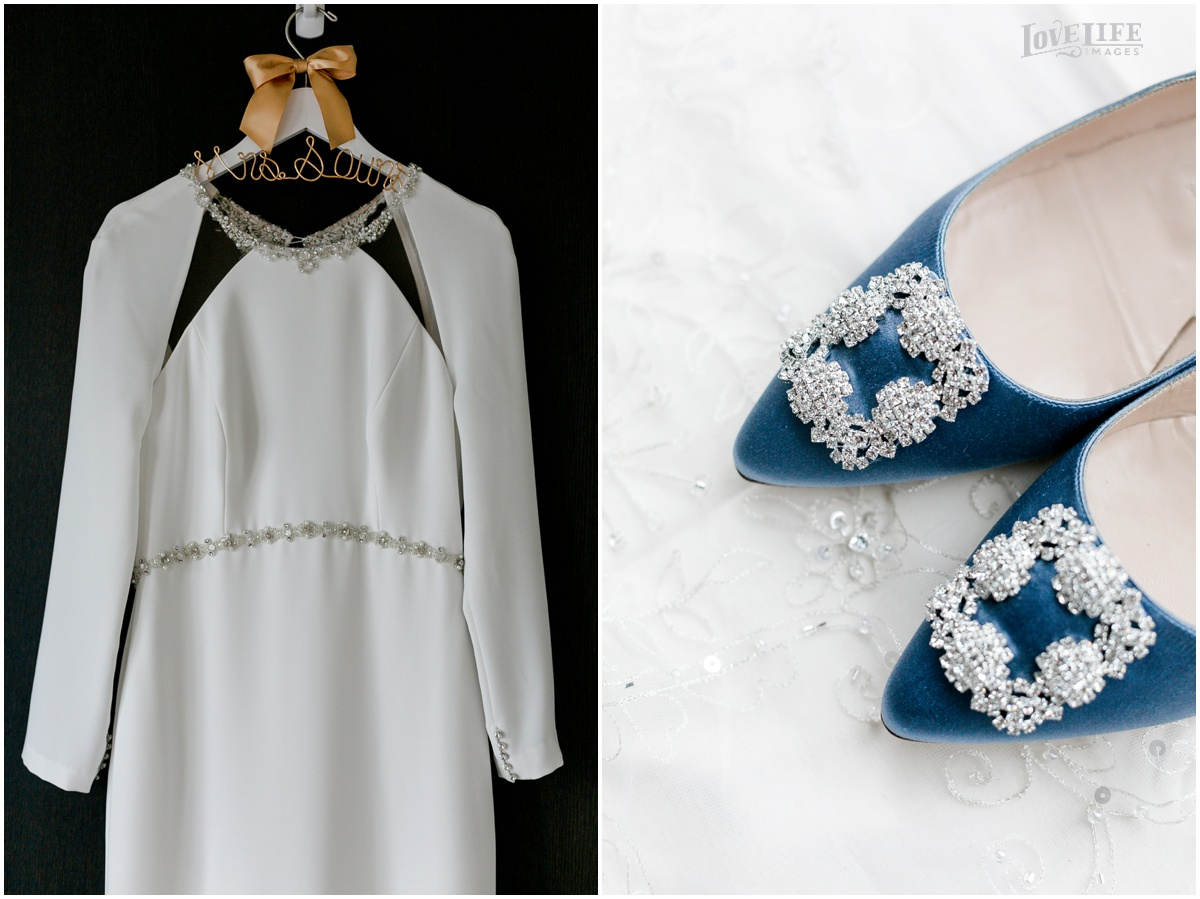 Winter District Winery Wedding gown and blue shoes.JPG