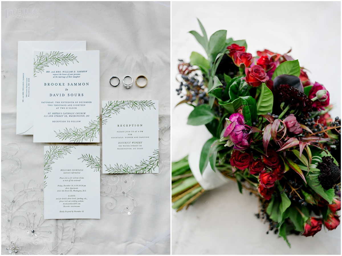 Winter District Winery Wedding invitation and bouquet.JPG