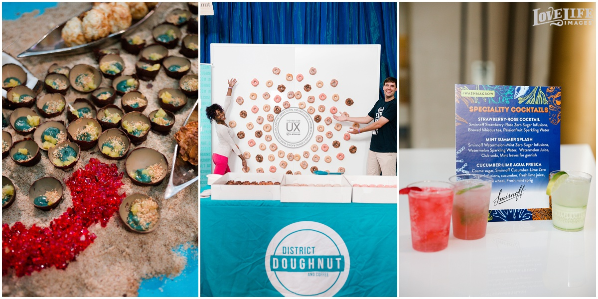An edible dessert seascape from  Kith + Kin  (left). An interactive doughnut wall from  District Doughnut  (center.