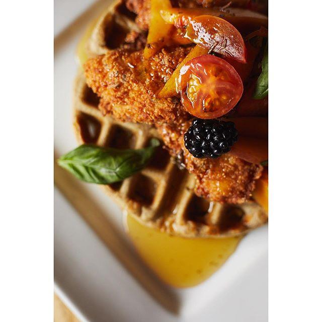 See you tomorrow! Sunday brunch from 10-3. Regular dining service today 3-11.  Chicken & Waffles buckwheat waffle, rosemary maple syrup, buttermilk fried chicken, peach and cherry tomato salsa, pickled blackberry. 📸 @pilsenphotocoop . . . . #getlostbefound #dine319  #breakfast #brunch #chickenandwaffles #chicken #waffles #brunch #brunch30 #yum #foodandwine #bonapetit #huffposttase #vscofood #iowafood #community #supportlocal #czechvillage #cedarrapids #iowa #iowacity #choose319 #thisisiowa #explore #cheflife #foodie #foodporn #midwestisbest #foodphotography #lostandfound