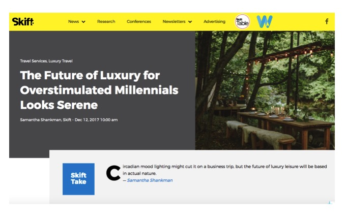 """""""For a new generation of affluent mobile workers, luxury looks more like Livingston Manor Fly Fishing Club (LMFFC)"""" - - Skift."""