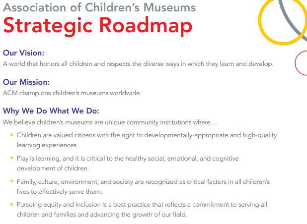 [Image description: Association of Children's Museums Strategic Roadmap Our Vision: A world that honors all children and respects the diverse ways in which they learn and develop.  Our Mission: ACM champions children's museums worldwide.  Why We Do What We Do: We believe children's museums are a unique community where children are valued citizens with the right to developmentally-appropriate and high-quality learning experiences Play is learning, and it is critical to the healthy social, emotional, and cognitive development of children. Family, culture, environment, and society are recognized as critical factors in all children's lives to effectively serve them, pursuing equity and inclusion is a best practice that reflects a commitment to serving all children and families and advancing the growth of our field.]