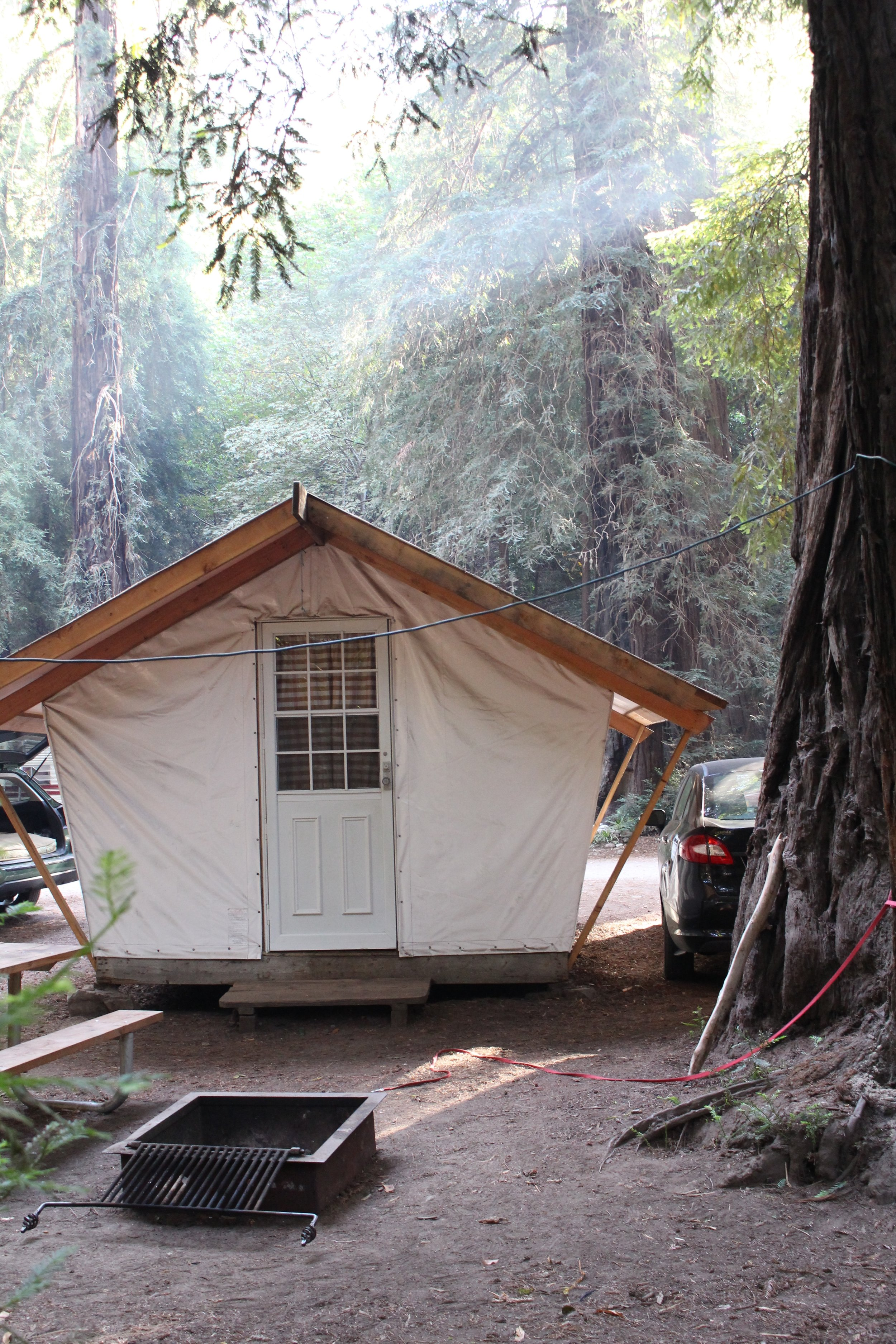 """Glamping"" in a tent cabin in Big Sur"