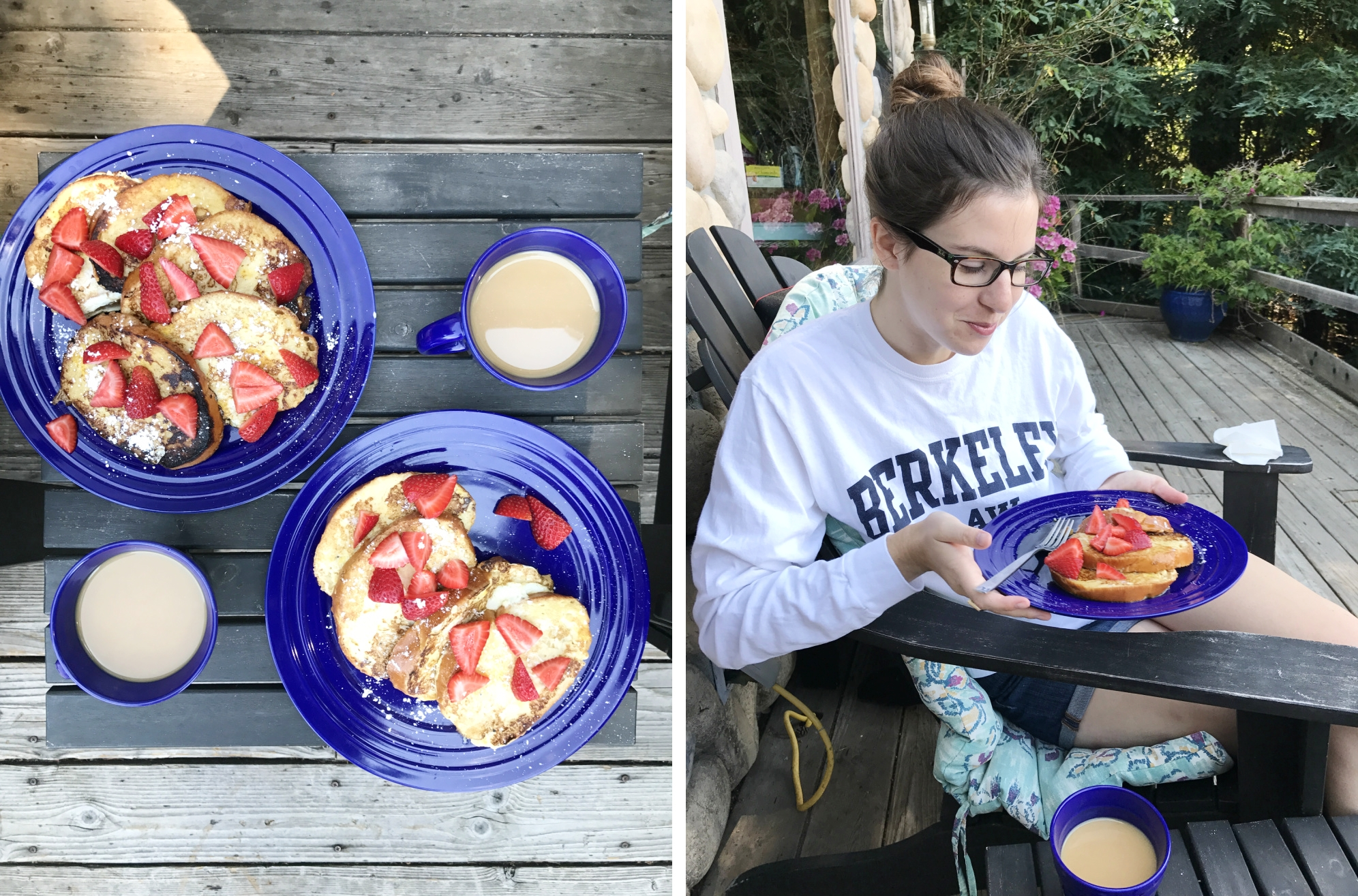 Homemade French toast on the porch