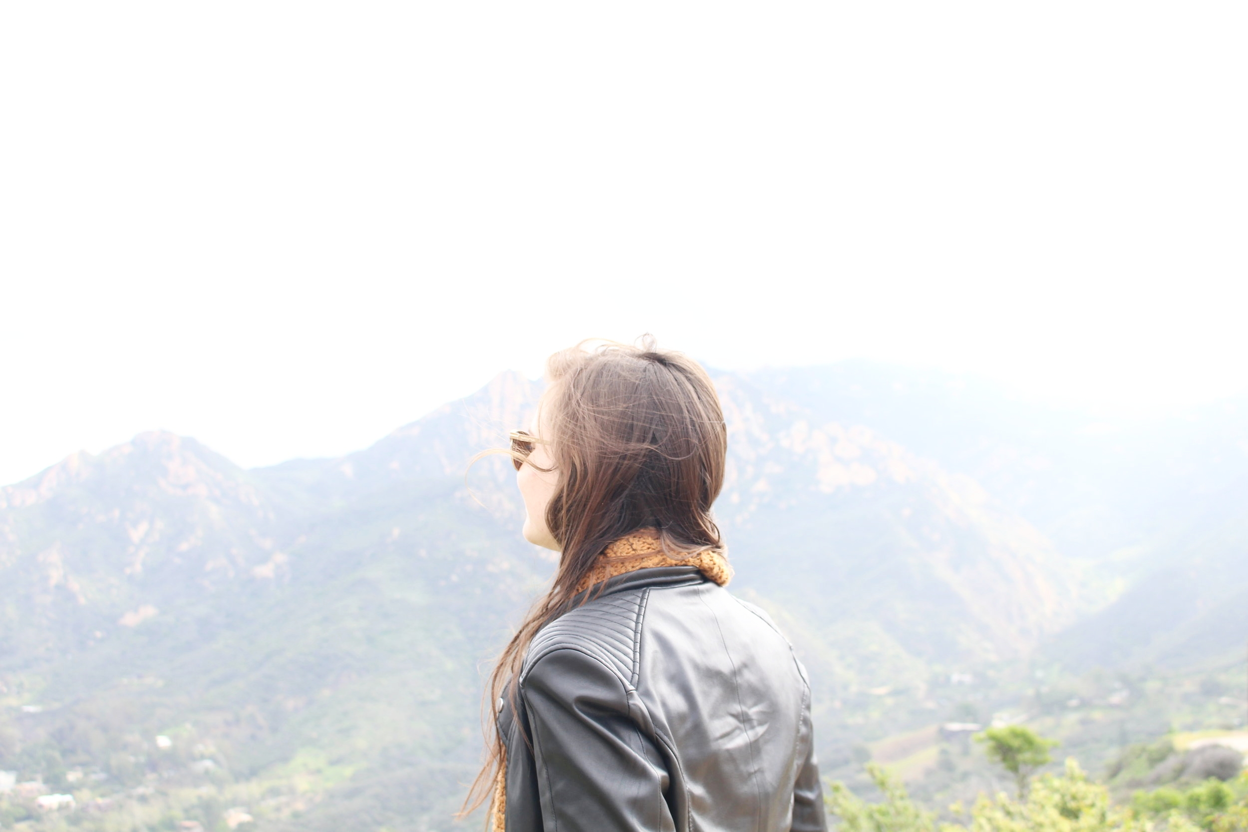A photo I took this past spring of my best friend, Anna, on a foggy morning in Malibu