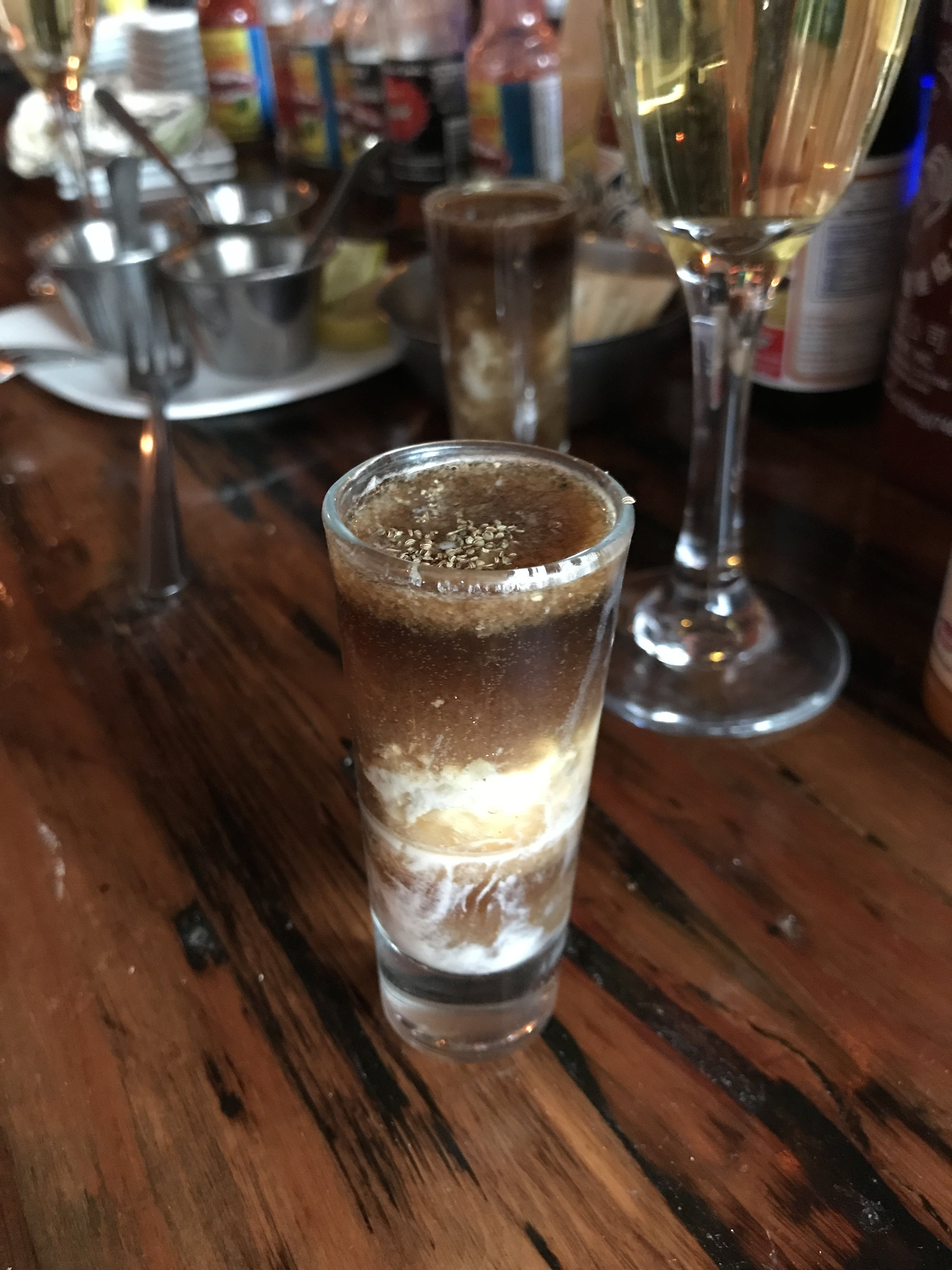 We also had a few oyster shooters, SO yummy. This one was our favorite even though it was really unexpected--a raw oyster, Stout, Worcestershire Sauce, and mignonette. Amazing!