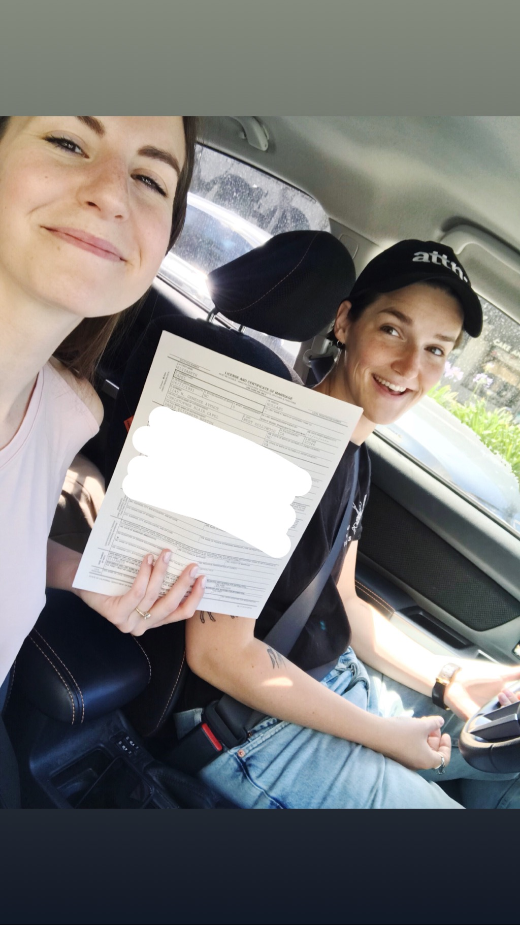 Getting our marriage license at the Beverly Hills courthouse! (I edited the picture to block out our information, haha). This was SUCH a sweet and special moment, and it's when I officially initiated my name change to Baldridge :)