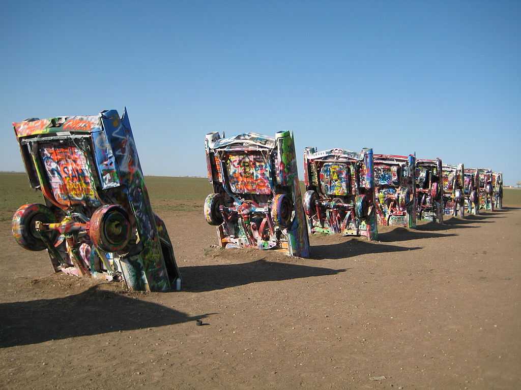 Image via the  Cadillac Ranch wikipedia page
