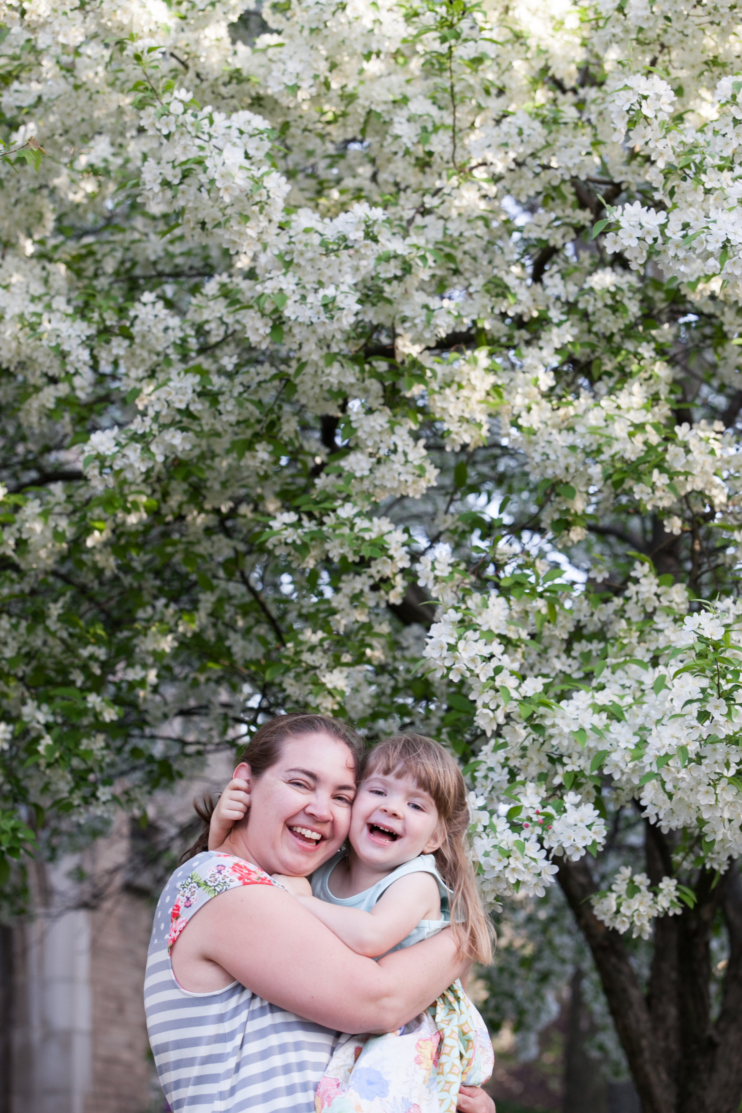 Our annual photo with the apple blossoms, my favorite. Photo by my husband, Jon Harle.