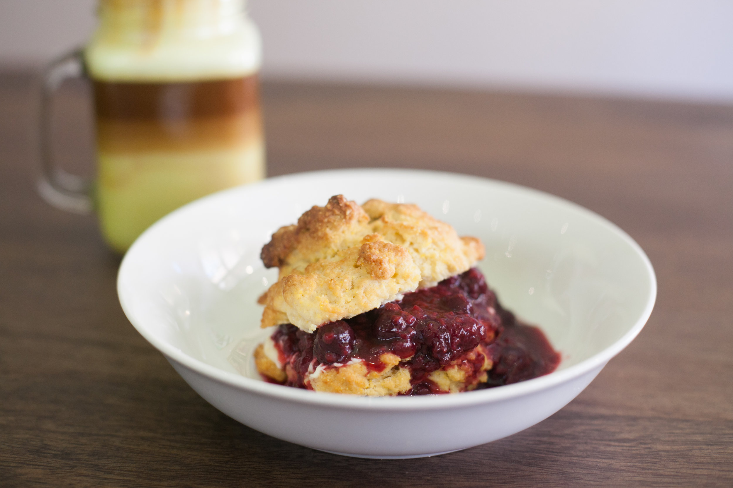 Cherry Scone with Berry Compote.  Photo by Tina Harle