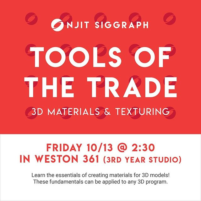 Today is our second tutorial session in a series on 3D modeling! This time, we will go over materials and texturing. Everyone is encouraged to stop by.  Weston 361 is the 3rd year studio, the room behind the lockers on the 3rd floor, just past the elevator.  #njitsiggraph #events #toolsofthetrade