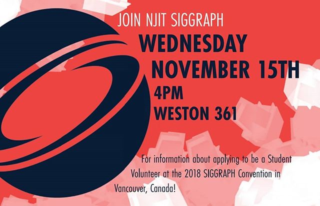 We're having an info session today about applying to volunteer at next year's SIGGRAPH conference!  Find out everything you need to know at 4pm in Weston 361 (the third year studio).