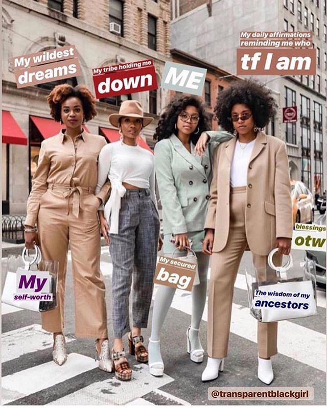 Self-confidence, healthy love, & a strong support system is what we are MANIFESTING for the rest of 2019! ✨🦋🥂 (reposted via @futureforus.now & @transparentblackgirl)