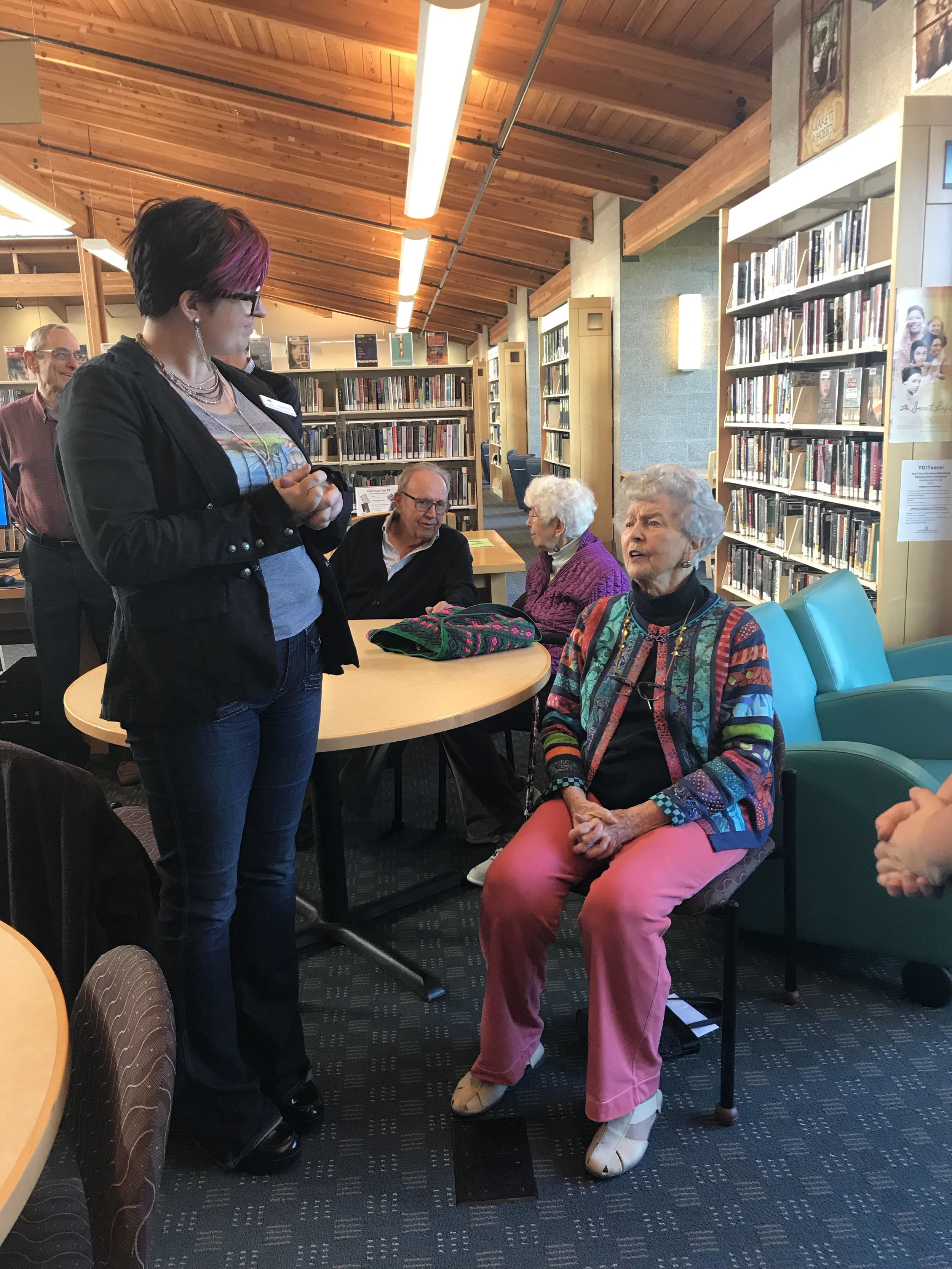 Mary Mastain talks with Kristin Anderson, Ashland Branch Manager
