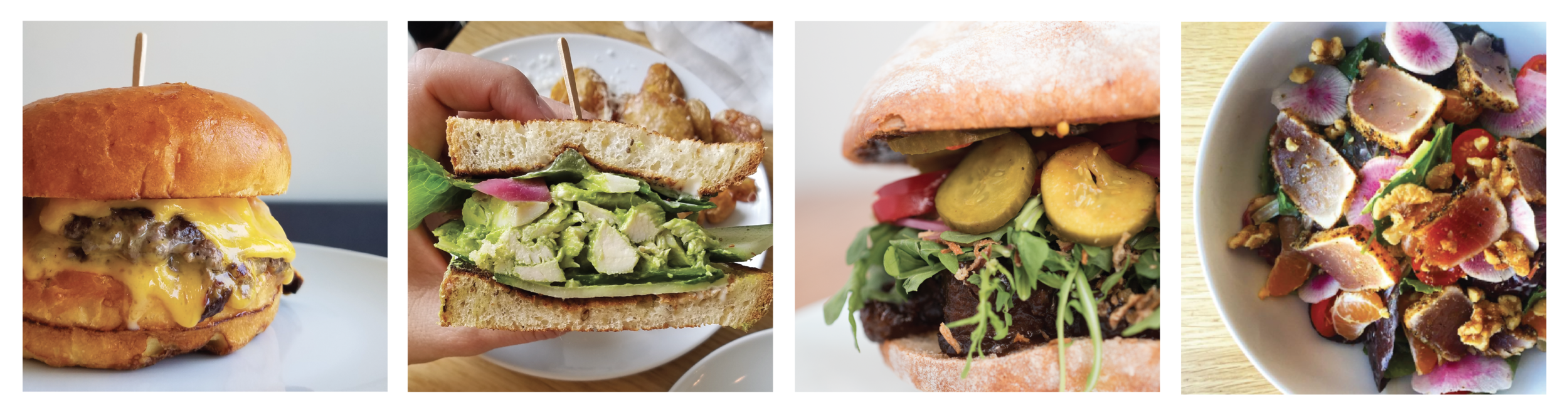 cheese buerger, green goddess chicken sandwich, BBQ brisket sandwich, seared albacore salad