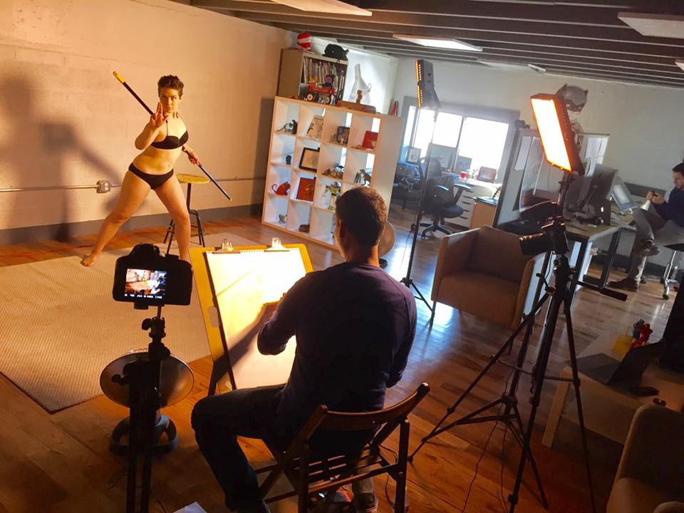 Strike a pose! Britt Snyder sketching model Marina Pimentel.