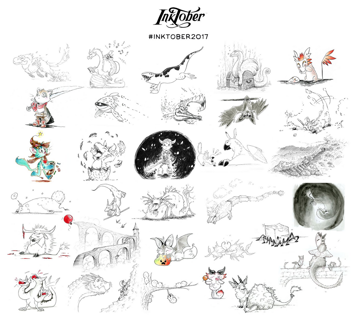 Carey Bowden - Check out all the fun creatures in Carey's first Inktober effort