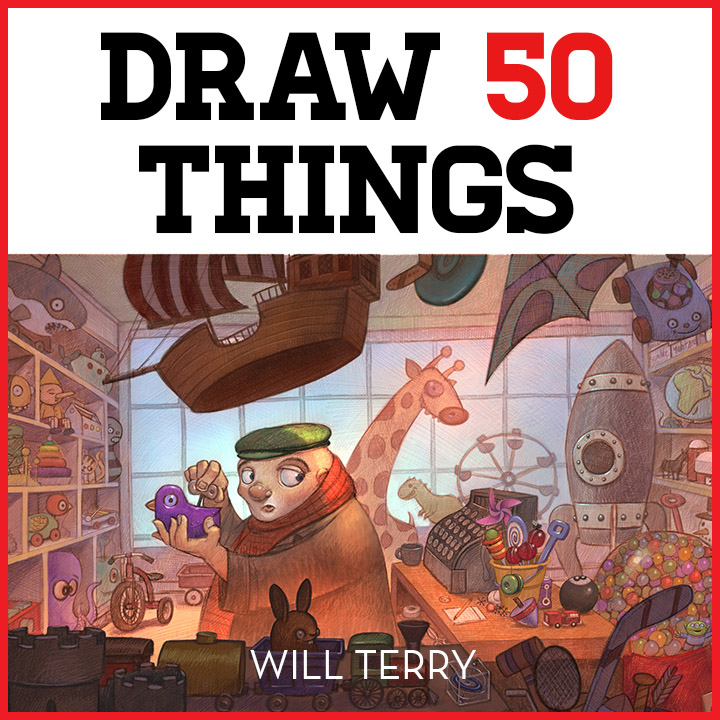 Draw 50 Things Interactive - One of the hardest things to draw is a scene with lots of STUFF. Pro illustrator Will Terry shows you how. Email support@svslearn.com to get on the wait list.