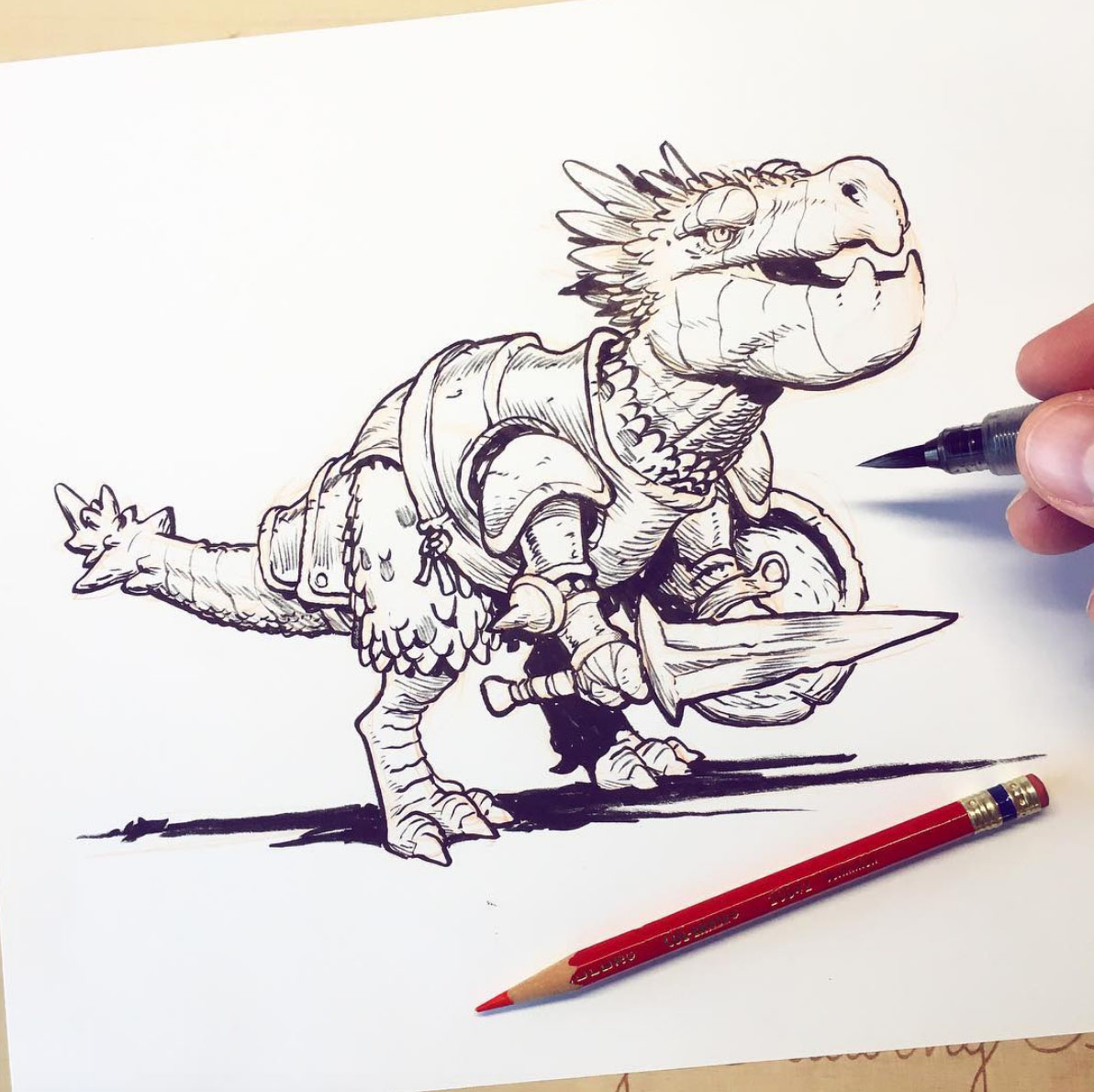 Watch Jake Parker ink this dino warrior in his brand new ink class!