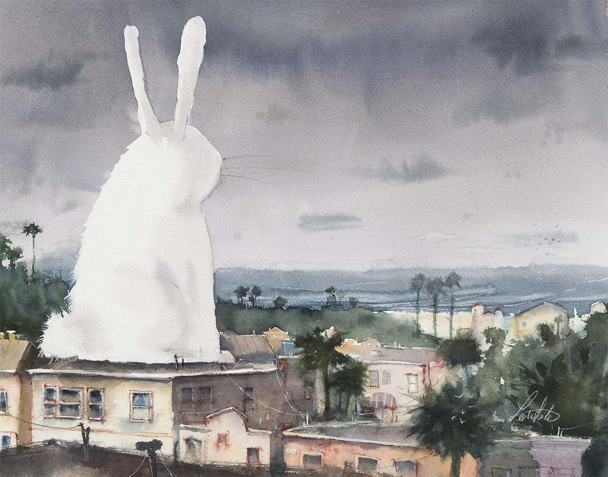 Art by Lee White! Bunny is pondering the meaning of life.