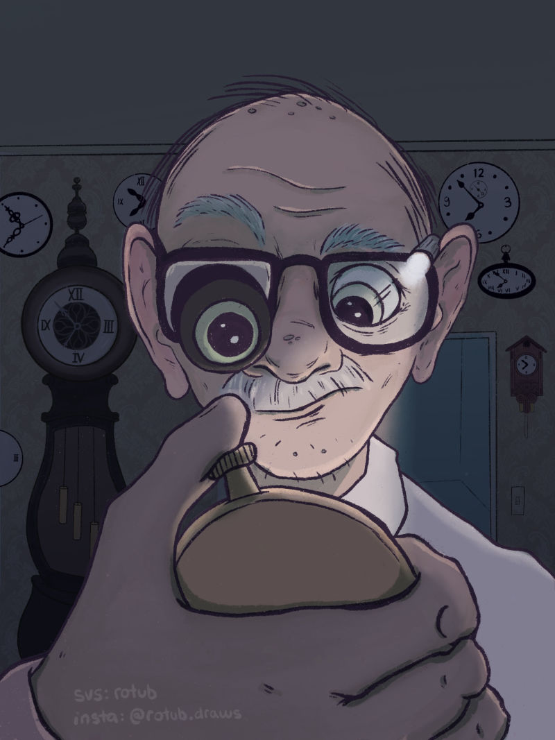 "rotub.draws - ""This image makes me really want to know more about the story. I love that we have an older guy dealing with a bunch of clocks which makes me think he's trying to manipulate time or something (back to the future?!). Great looking style that I would LOVE to see in a graphic novel.�"
