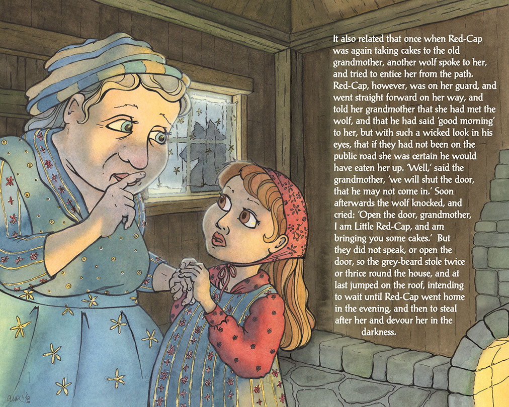 Red Cap & Grandma:    This is the other Little Red Cap piece. Together they are an alternate ending to the Brothers Grimm story. Art by Lisa Burvant.