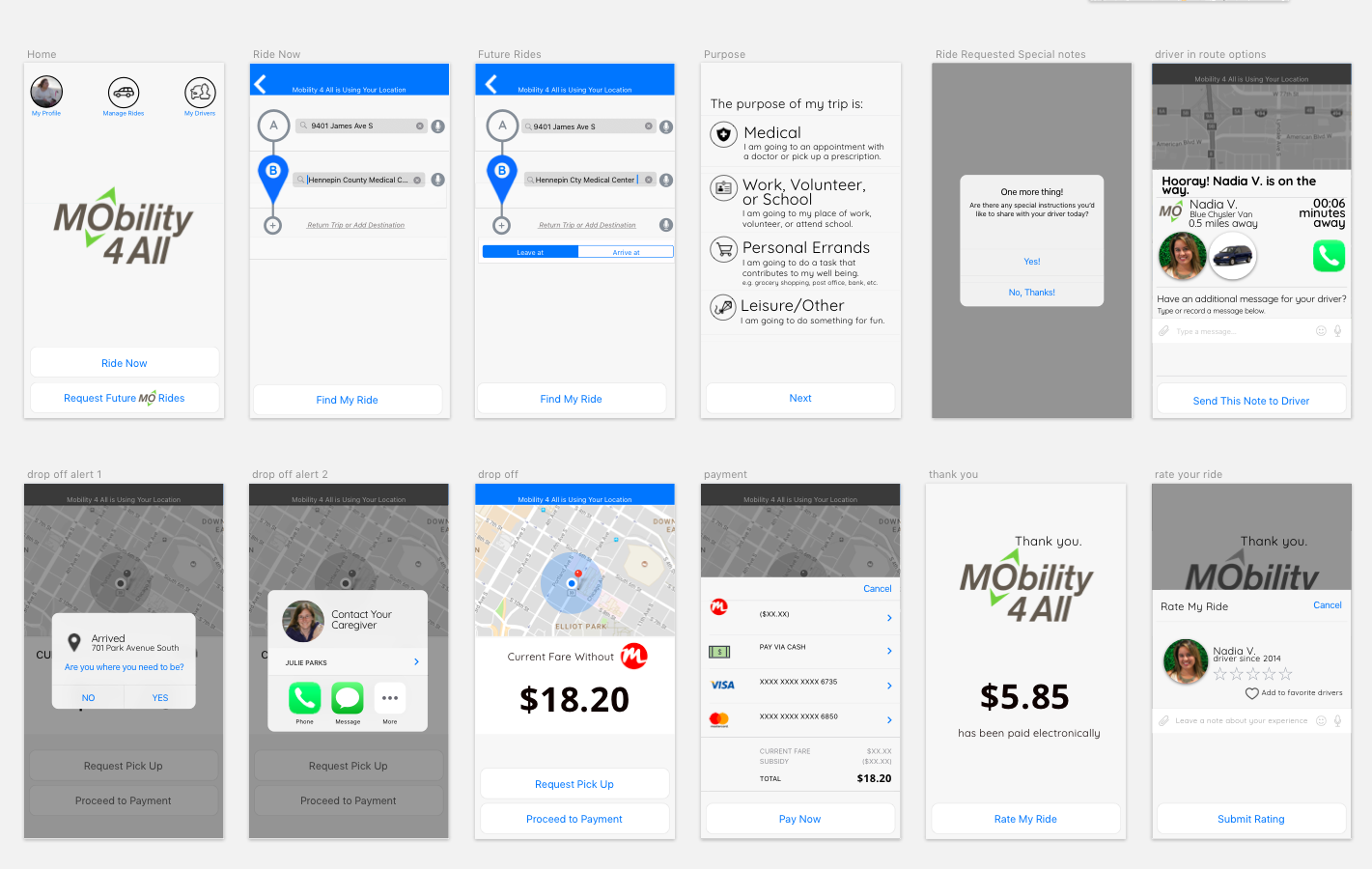 Mobile wireframes of the rider app