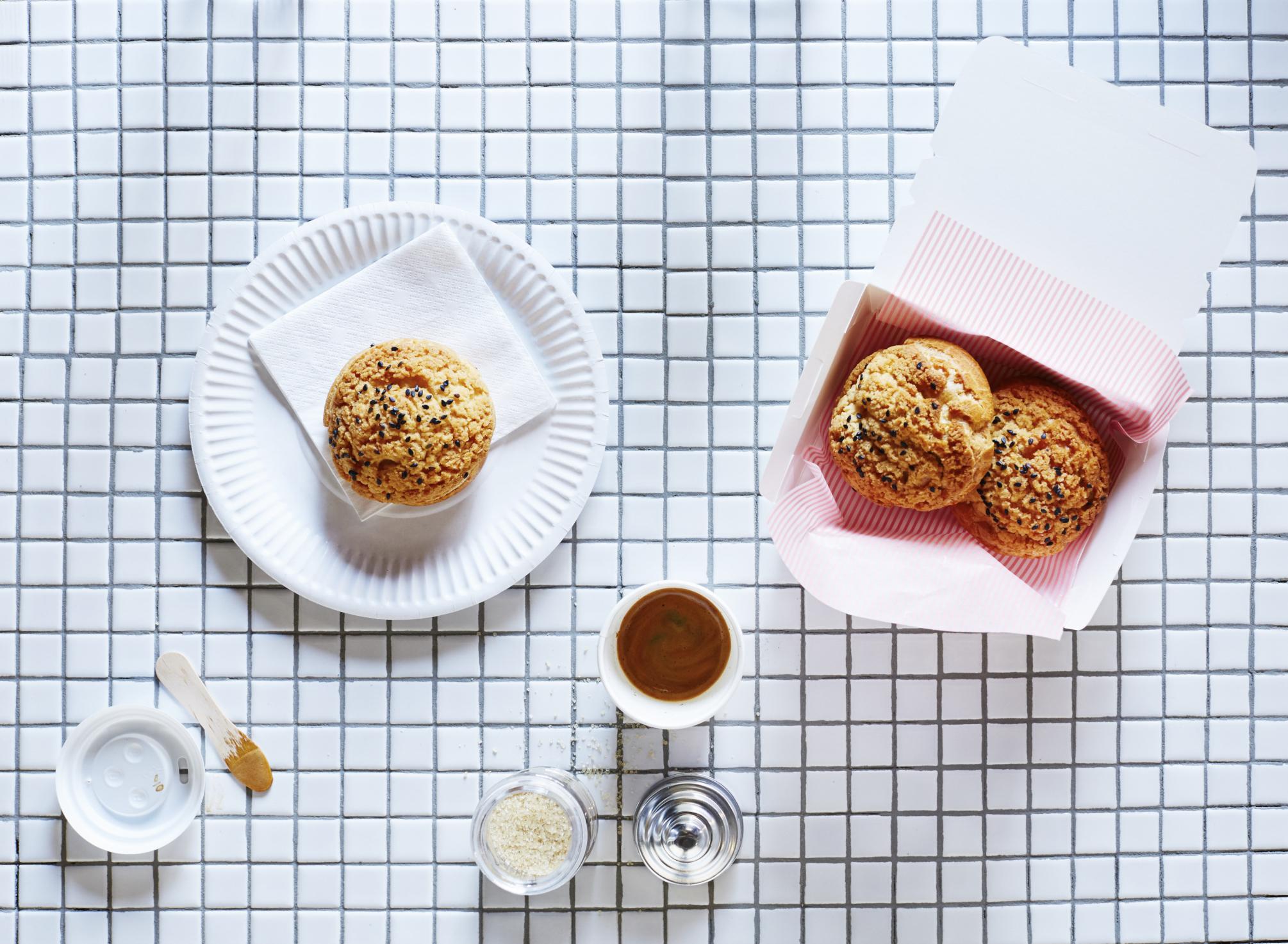 Black sesame cream puffs recipe, The Desserts of New York. Photo: Alicia Taylor.