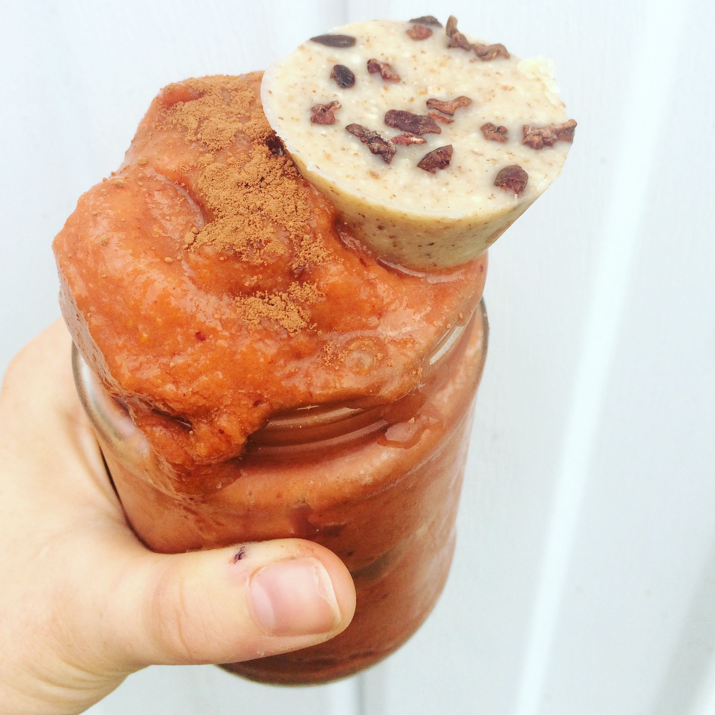 Cocoa, Carrot, & Cauli - 1 large carrot, 1/3 c butternut squash (steamed & frozen), 1/2 c cauliflower (steamed & frozen), 5 cherries (frozen), 1 T collagen protein powder, 1/2 t maca powder, 1 T cocoa powder, 1/2 c almond milk - Blend until thick and smooth. Top with a fat bomb and a sprinkle of cocoa powder. Makes 1 serving.