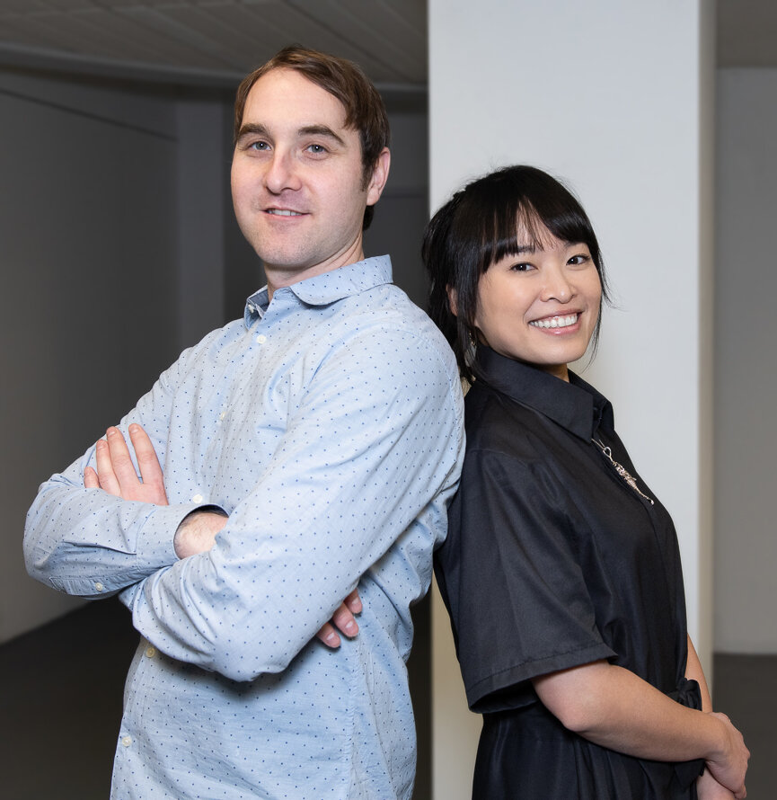 the artist duo, Johnathan (left) and Hui-Ying (right)