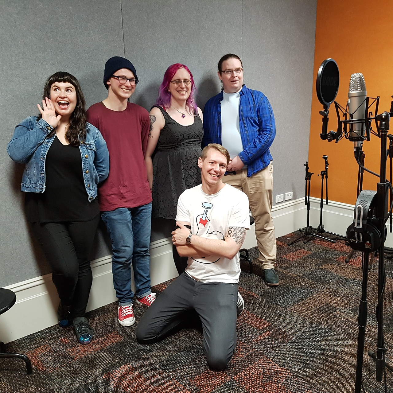 Some of our supporting cast on the first day of recording, along with our recording engineer and one of our producers.