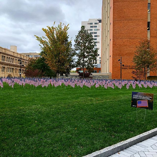 The 907 flags on display on Drexel's quad honor the 907 current Drexel students who have served our country. Thank You Veterans & God bless America 🇺🇸