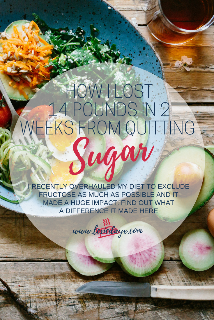 How I Lost 14 Pounds in 2 Weeks by Quitting Sugar  I had been looking into it and seen so many things about sugar being so bad for you and I really took this on board. At first, I didn't even want to give up chocolate because I love it so much but for my health and weight I knew I had to. But after reading into  I Quit Sugar by Sarah Wilson  it really opened my eyes to what I should be doing. Now I am not sticking to her program word for word but I have taken a lot of inspiration from her books and using a lot of her delicious recipes.