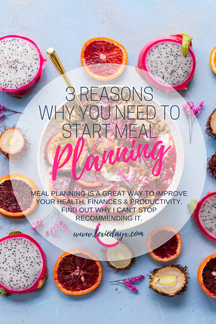 3 Reasons Why You Need To Start Meal Planning  I have been obsessed with meal planning for about 18 months now. Every single Saturday without fail I get all of my recipe books out in front of me, get Pinterest open and start recording what I want for that coming week. I love planning my meals, it helps with my weekly grocery bill, helps me eat healthily and just generally keeps my productivity at a high. If you are considering Meal Planning too then here are some ways I think it is great.