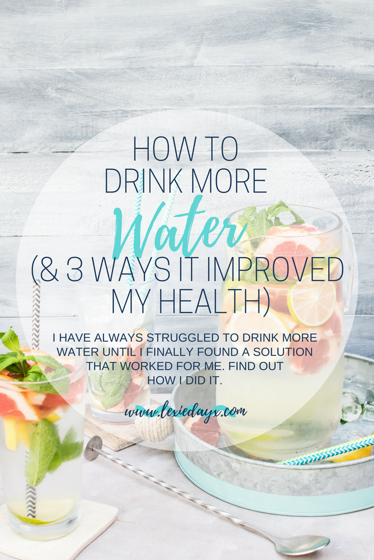 How To Finally Start Drinking More Water  I have always been terrible at drinking water. I used to be the type of person that would look at the clock and realize that it was 1 pm and I still hadn't drank a single drop.  My skin was terrible, I used to get water infections pretty often and I was struggling to lose weight.  I had tried so many times to drink more but I could never remember and had nothing in place to hold myself accountable. So here is how to finally start drinking more water.