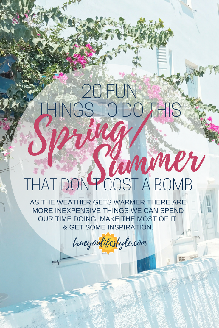 20 Fun Things to Do this Spring and Summer. Finally, Spring is here which means brighter skies, warmer weather, and bigger smiles. Plus Summer is right around the corner too so even better. I like to think in advance of what I want to do in the nice weather as I like to make the most of it every day. I hope this list inspires you to get outside and think about what to do this spring and summer. Plus most of these are completely free so you have no excuse.