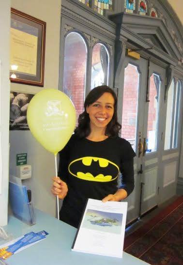 A bat woman with her thesis in Melbourne, Australia.