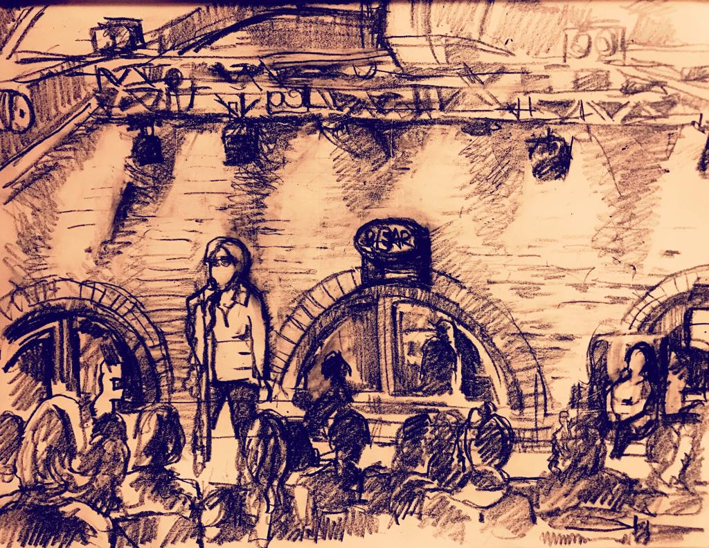 A sketch from Andrea's performance at The Bear's Purpose Show; courtesy of Pavel Zemskov.