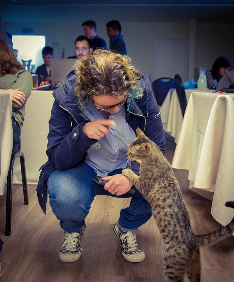 Giving guidance to an unusual workshop participant in Israel.