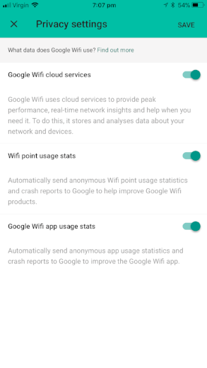 Google WiFi Privacy Options
