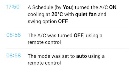 Sensibo log showing remote usage