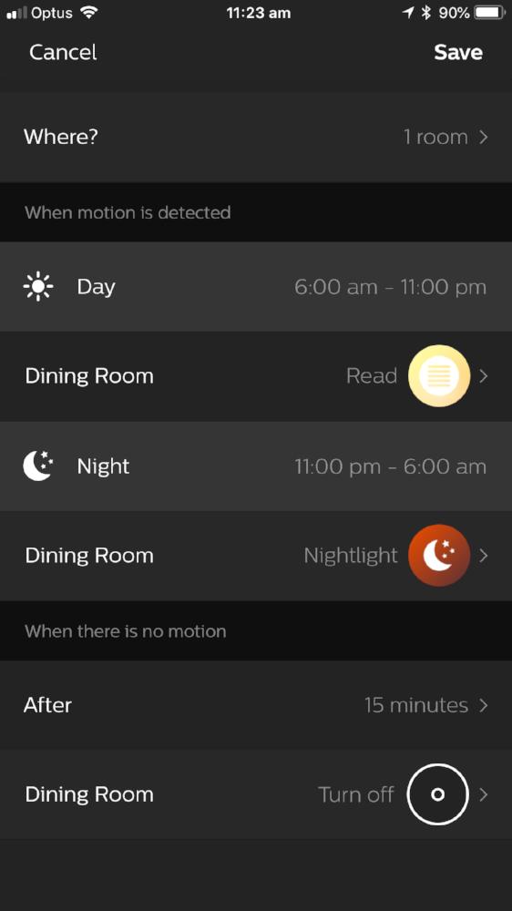 Hue App Sensor Options