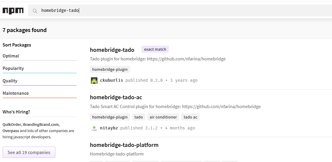 NPM homebridge search
