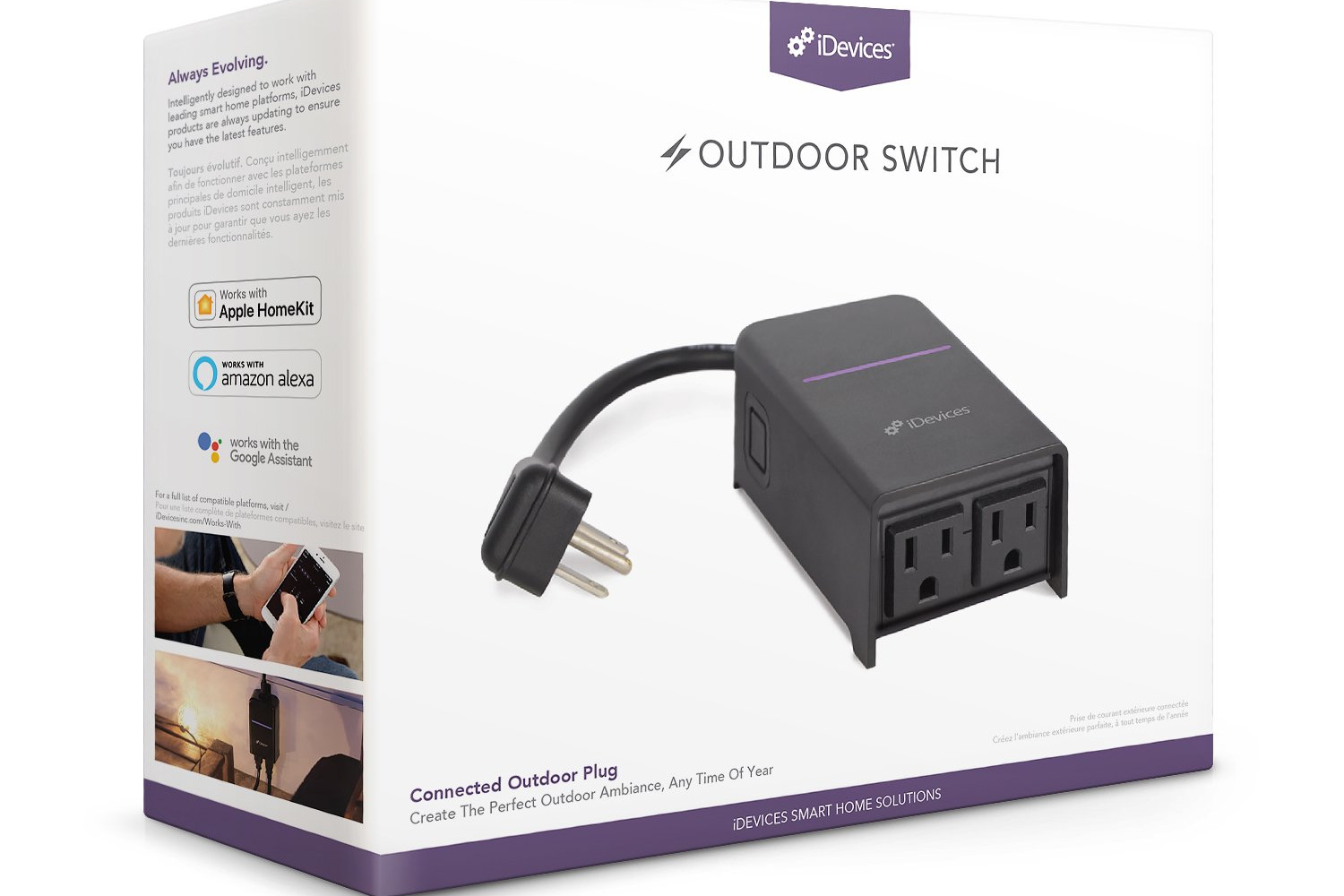 iDevices Outdoor - 120V, 1200W, WiFi, 2 sockets, consumption monitoring, outdoor rated (rain, snow etc)Buy: Amazon, Direct