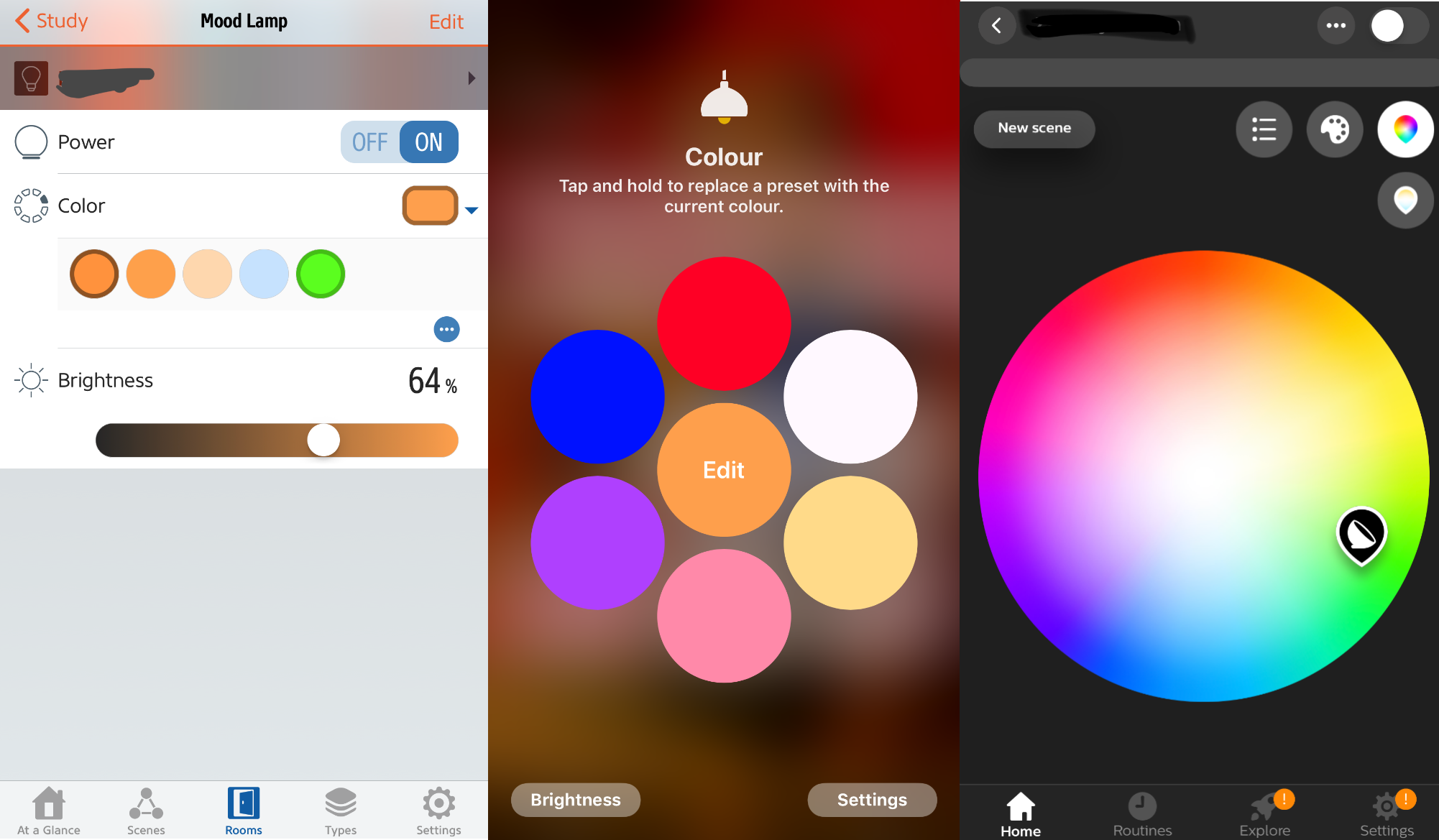 Color selection in the Eve, Home, and Hue apps