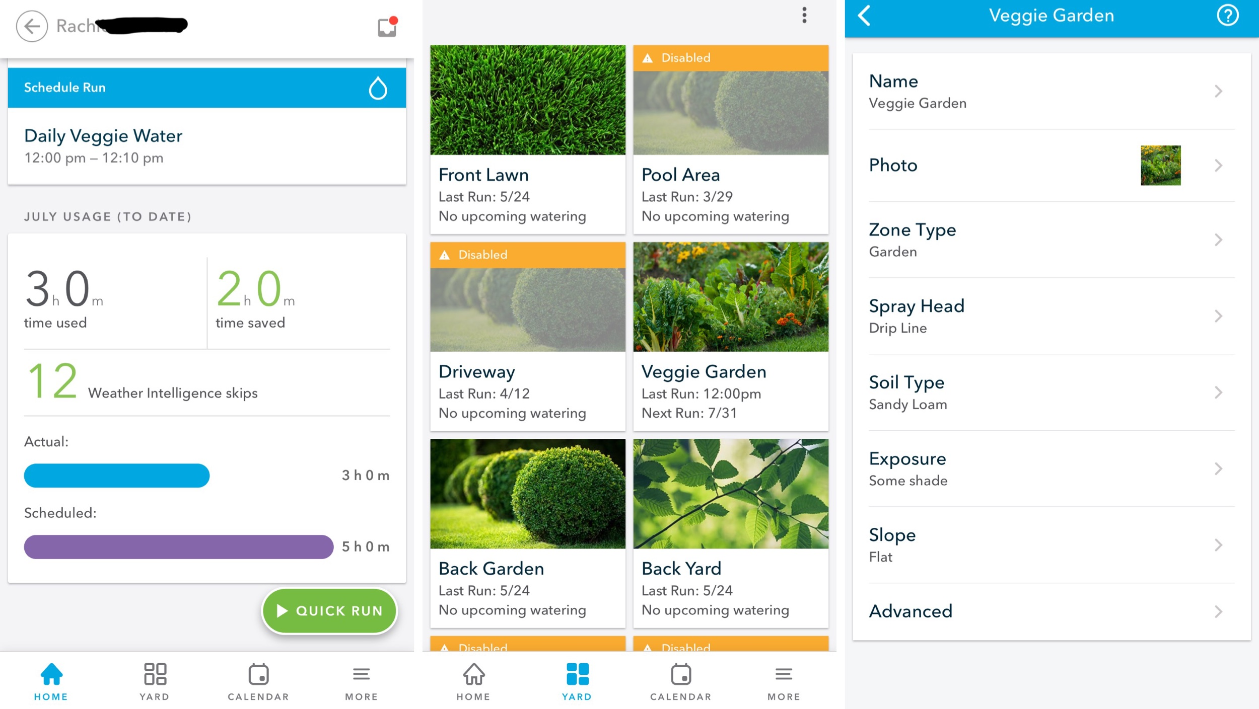 The Rachio App - Home, Yard, and Zone Settings pages